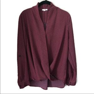 Anthropologie Pleione Navy/Red Patterned LS shirt